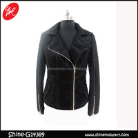 NEWEST LONG SLEEVE PLAIN DYED FASHION WOMEN TOPS , ZIPPER BLACK WOMEN SUIT JACKET