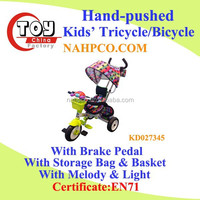 Hand-pushed Kids' Tricycle/Step-on Bicycle/Ride On Car With Brake Pedal(Upgrade Version)