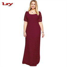 Amazon Hot Sale European Elegant Maxi Long Evening Wear Big Size Full Lace Short-Sleeved Woman Party Wedding Dress