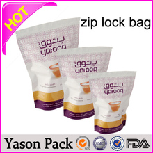 Yason hot plastic zipper bags/aluminum foil ziplock bags/ zi pe zipper bag for medicine drug one side transparent alu foil stand