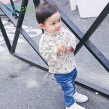 Q2-baby Korean Custom Design Sweet Cotton Long Sleeve Baby Print Shirt