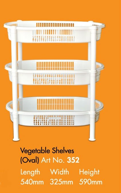 Oval Shape with 3 Racks Vegetable shelves