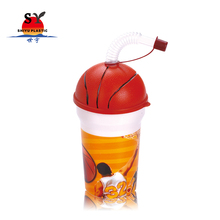 New design custom printed 420ml BPA free pp plastic basketball ball shape drinking water cup with straw