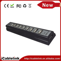 High speed usb hub 10 port for laptop PC usb 2.0 hub with power adapter 10 port usb hub driver