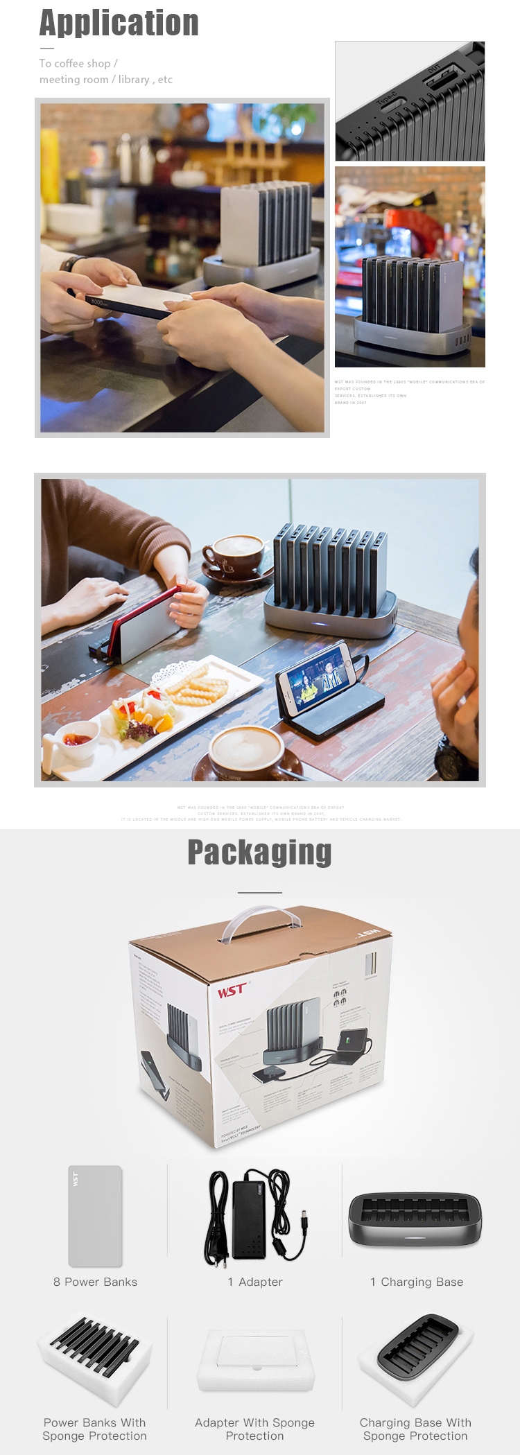 WST Portable power station 8000mah restaurant sharing power bank phone docking station