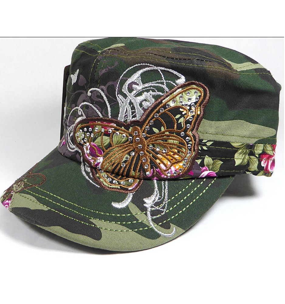 Rhinestone Distressed Butterfly Cadet Hats Denim Military Hat Wholesale