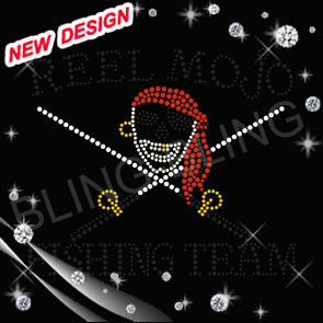 Pirate Transfer Iron on Rhinestone Design