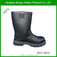 Top quality high cut genuine leather rubber sole military boots