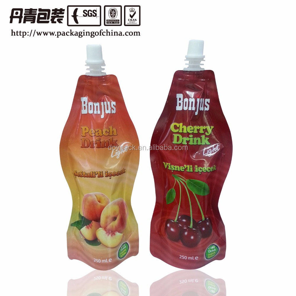 250ml plastic drinking stand up pouch for beverage packaging, peach juice bag , cherry juice bag Y0633