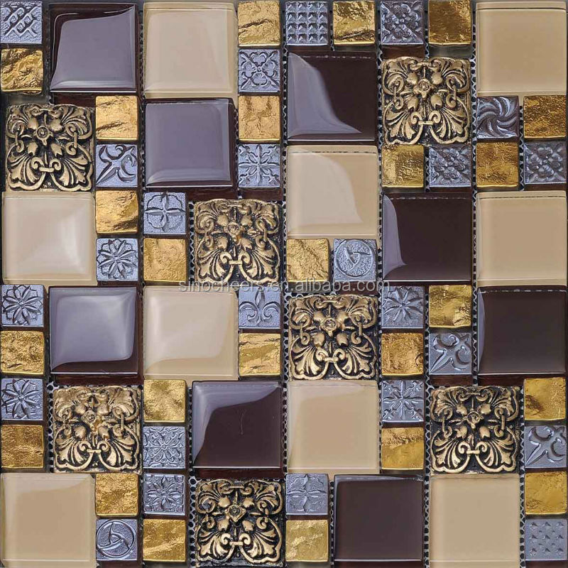 Metal Glass Mosaic Tiles in Wall Facades