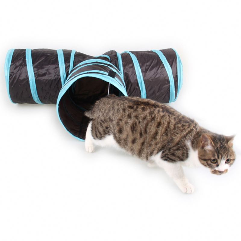 RoblionPet Indoor Outdoor Foldable 3 Holes Way Funny Pet Cat Training Tunnel House Toy