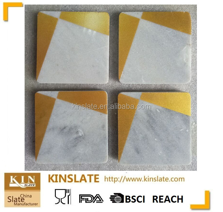 Square shape natural white marble coaster with golden logo