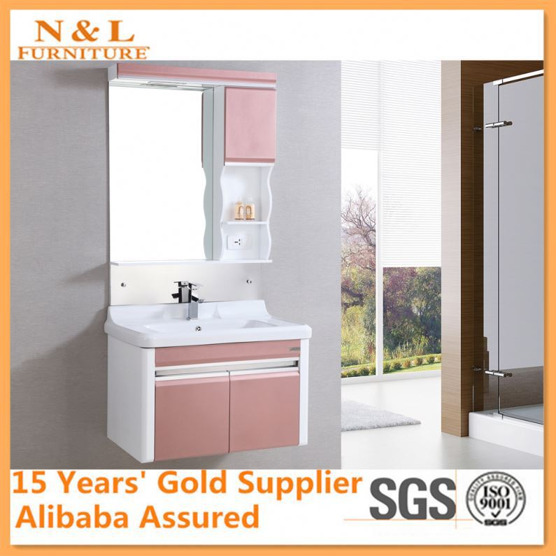 2015 Customization Wholesale Home Bathroom Cabinet Hotel White Laminate Cabinet