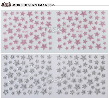 Fresh Fancy Glitter Star Nail Decals Many Color 3D Nail Art Stickers