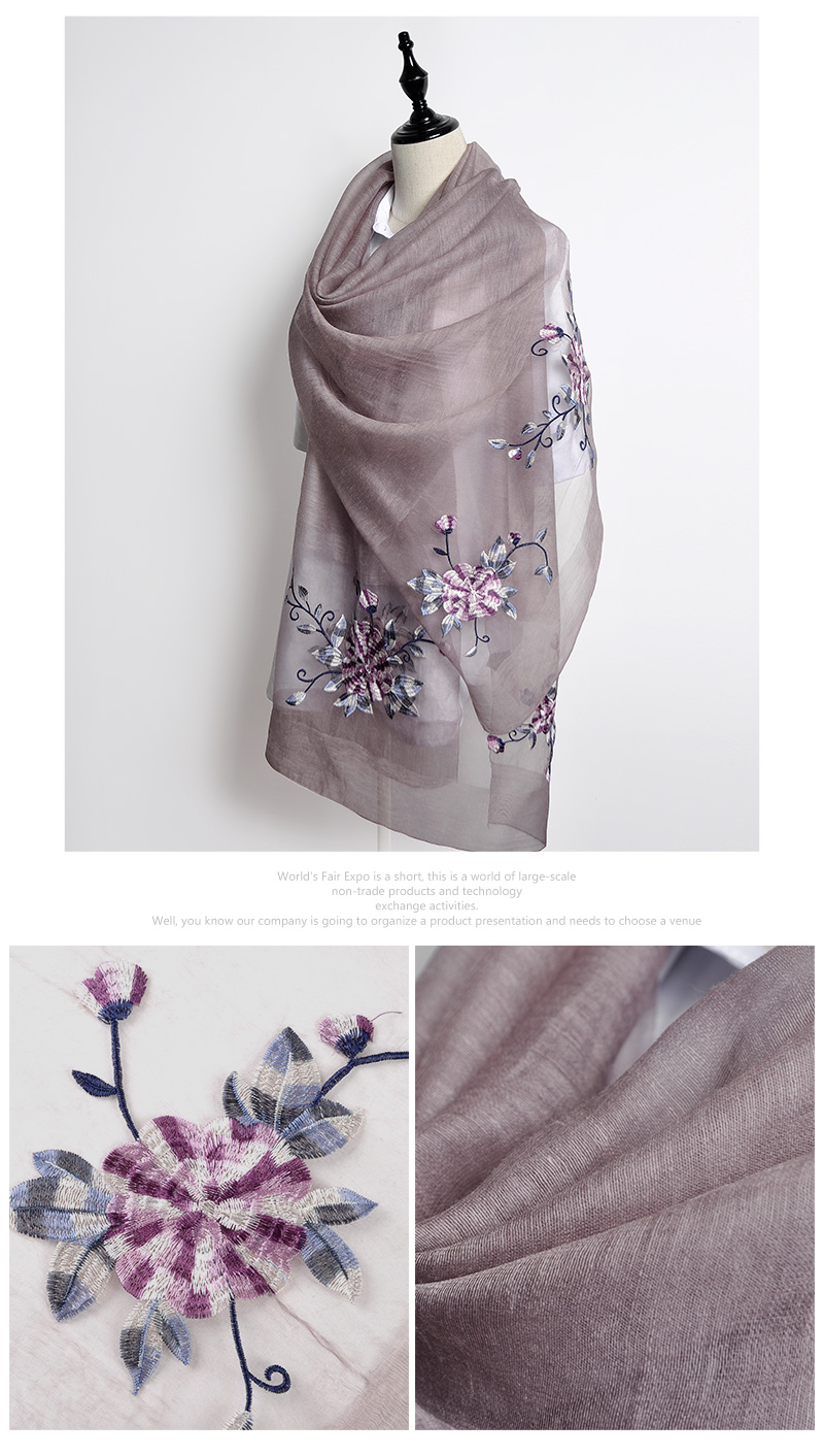 2017 Autumn new pashmina embroidery silk wool Variety lady Scarves blended embroidered flower silk summer shawl beach scarves