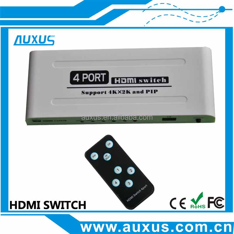 New product HDMI Switcher 4 input to 1 output support 4K*2K and PIP compliance HDMI 1.4