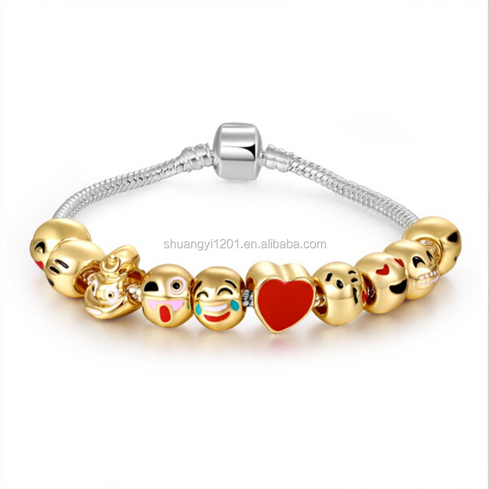 Gift Gold Plated Cute Emoji Face Charms Bracelets Beads Bangles 10 styles DIY Jewelry