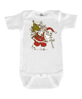 New White Infant Bodysuit With Vintage Santa Little Baby Leotard Adorable Kids Clothes Z-RR80804-8