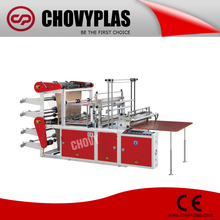 Automatic two layer four lines hot sealing and cold cutting bag making machine for bottom sealing plastic bag