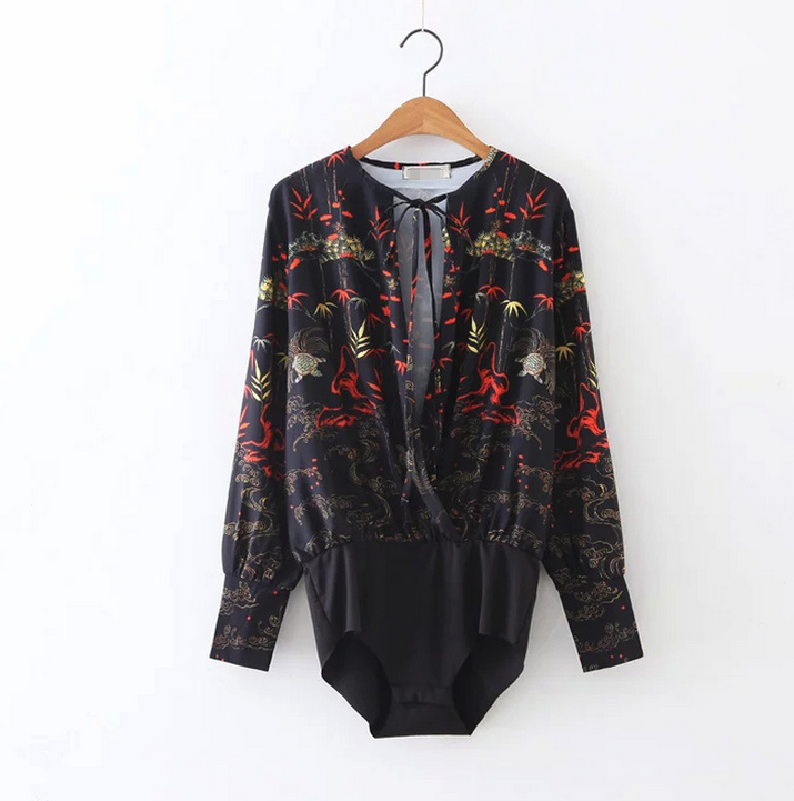 2017 printed black sexy blouse for woman