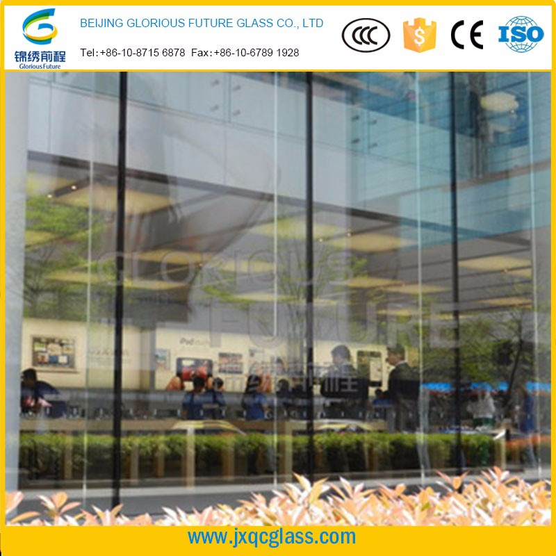 High strength shockproof 15mm tempered glass curatin wall awning panels for large commercial building