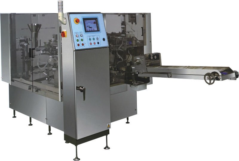 Rotary preformed bag filling and sealing machine