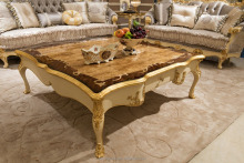 FC-138A-Carved wood marble top coffee table living room design table