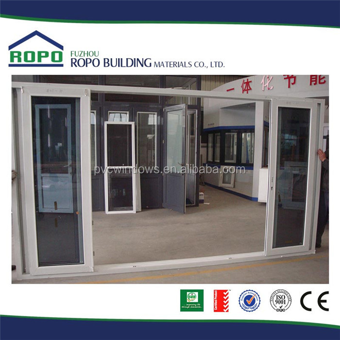 White UPVC plastic frame smoke grey glass commercial large sliding glass doors