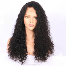wholesale price 100% indian Human Virgin Hair water wave natural color full lace wigs can make ponytail
