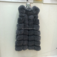 90 cm long round collar dyed blue fox fur vest with leather for women