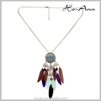 Fashion accessories fashion wild small jewelry 18K white gold Feather Necklace Dreamcatcher