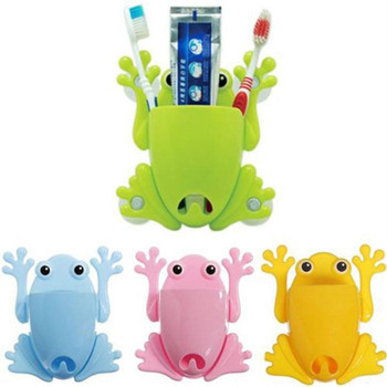 Cartoon Multi-function Cute frog Toothbrush Holder Rack Hooks Toothbrush receive case/box&Brush pot Bathroom Tool