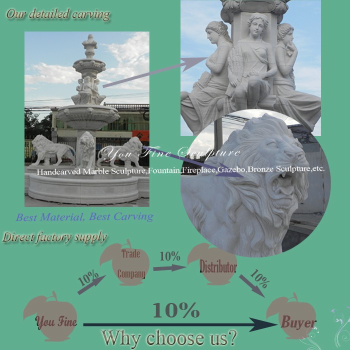 Natural Stone Large Outdoor Lion Marble Garden Fountain