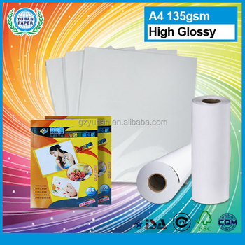 facoty sell inkjet A4 size 135gsm waterproof high glossy photo paper with wholesale prices