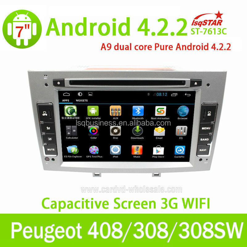 Pure android car Stereo DVD for peugeot 408/ 308