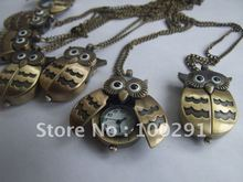 Owl, Can mixed design Wholeslae Men's&Women's Antique Brass Bronze Pocket Watch Charm Pendant Necklace Nickel Free Lead Free !!!