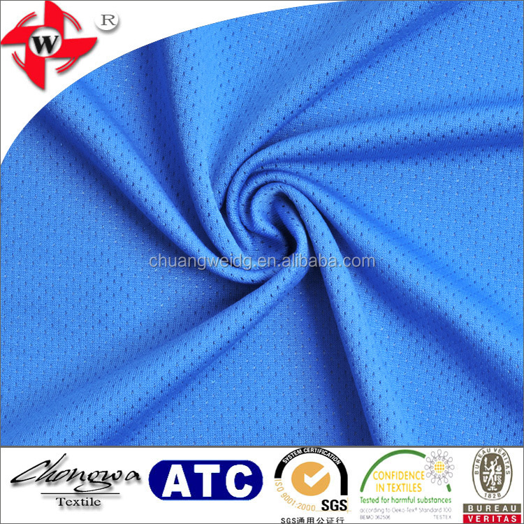 Chuangwei Textile Polyester Spandex Mesh Football Micro Polyester Rugby Jersey Fabric