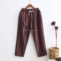 Women long trousers casual loose stripe harem pants ladies linen cotton pants