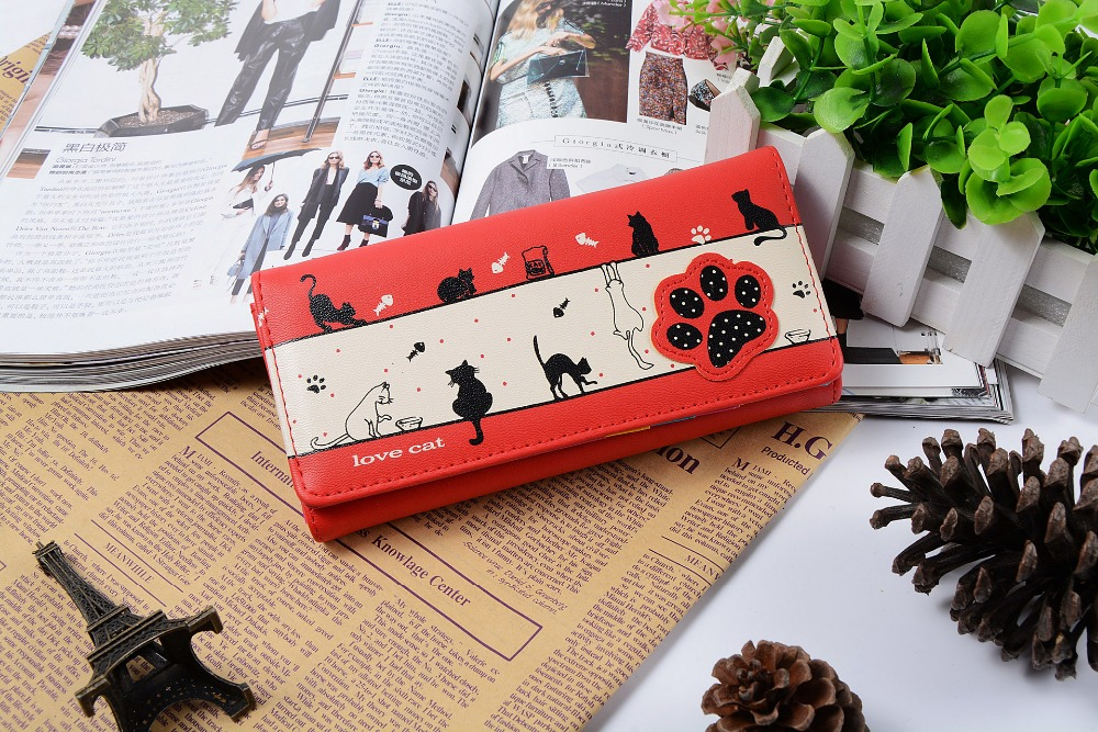 New Model Lady Wallet Fashion Wholesale cat Printing Woman Wallet