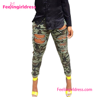 Fast delivery b2b damaged camouflage jeans