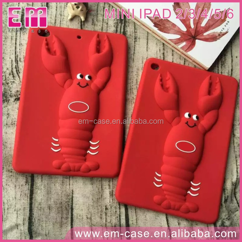 For iPad 23456/Mini1234 Silicone Case Cartoon Red Lobster Cell Phone Case