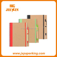 Eco-friendly kraft cover spiral paper notebooks/exercise books with pen holder