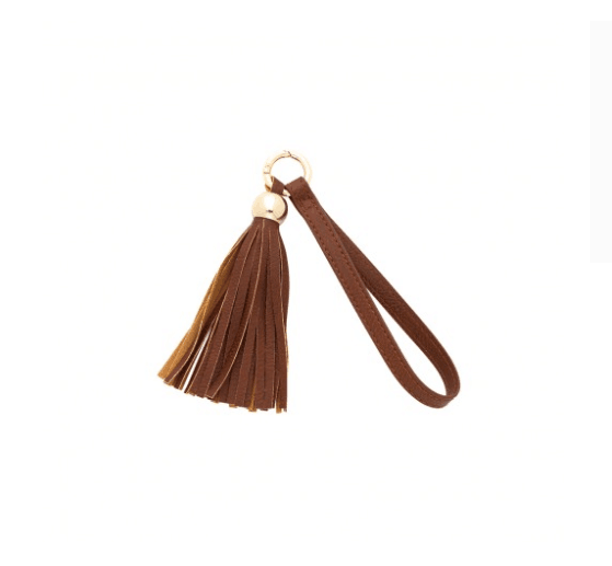 Wholesale Leather Camel Tassel Keychain Accessory