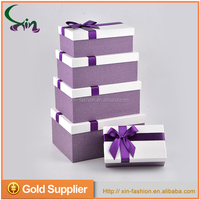 China suppliers custom packaging rectangle-shaped alibaba box gift with ribbon