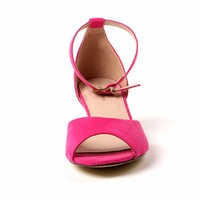 TongPu Wholesales Factory Low Price Ladies Hot Pink Color Velvet Sandals