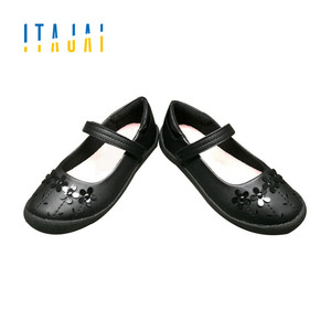 2018 girls shoes black PU leather shoes school students dress shoes with cute flower