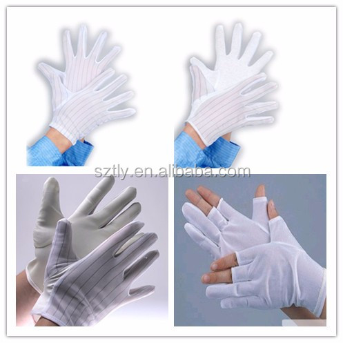 2017 PVC Dotted PU Coated Protective Cleanroom Antistatic Gloves ESD Gloves