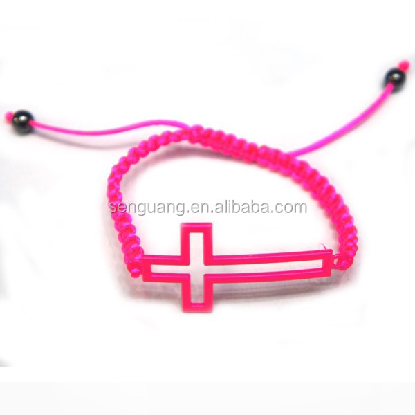 red weaving rope bracelet with silicon cross,fashion charm bracelet jewelry