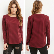 {OEM} Fashion Loose Version Round Neck Curved Hem Striped Women Long Sleeve Tees 9715