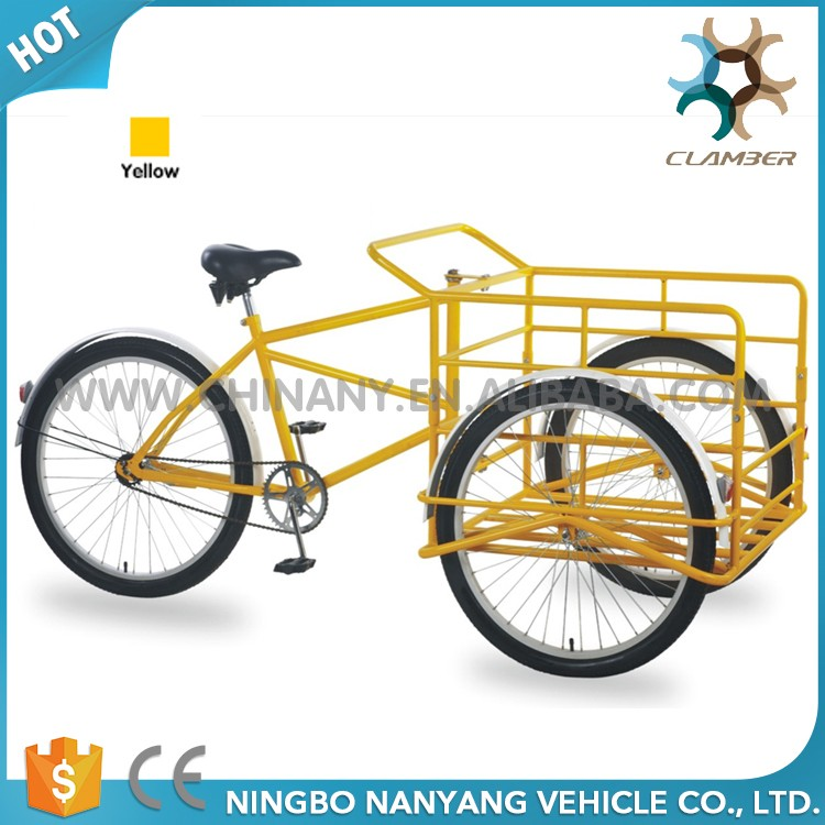 Single speed yellow color pedal large tricycle
